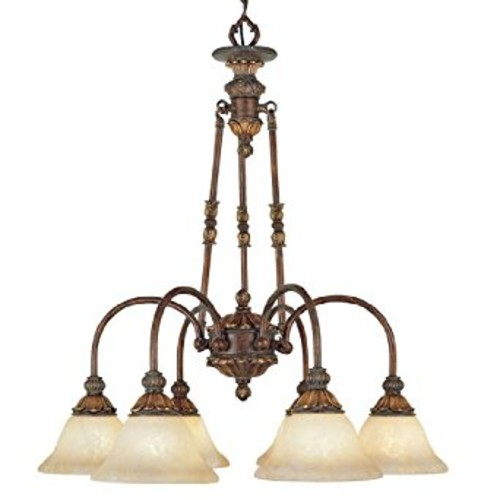 Livex Lighting 8605-30 Chandelier with Vintage Scavo Glass Shades, Crackled Greek Bronze with Aged Gold Accents