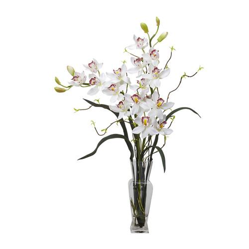 Nearly Natural Cymbidium Silk Flower Arrangement White