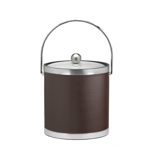 Sophisticates with Brushed Chrome 3-quart Ice Bucket with Bale Handle and Metal Cover [option : Brown]