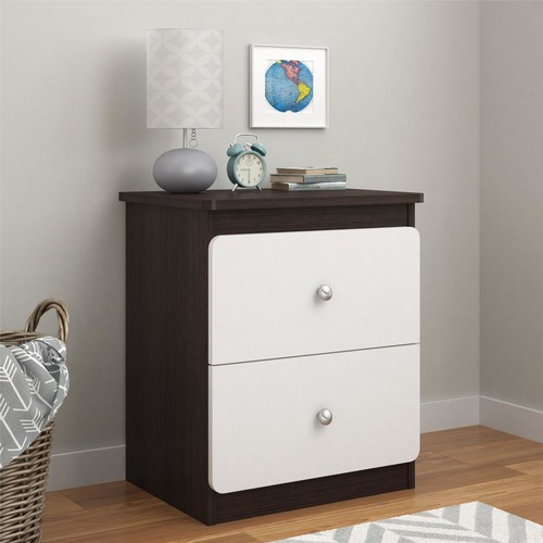 Dorel Willow Lake Coffee House Plank/White Nightstand with Drawers