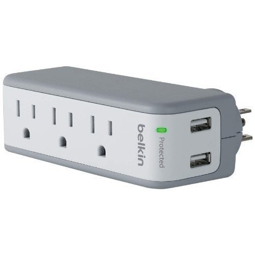Belkin 3-Outlet SurgePlus Mini Travel Swivel Charger Surge Protector with Dual USB Ports (2.1 AMP / 10 Watt), BST300