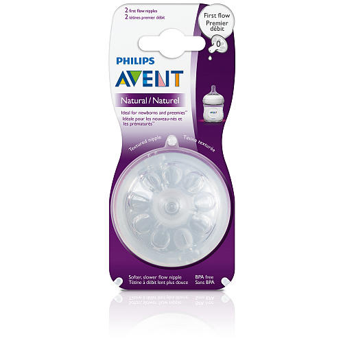Philips AVENT BPA Free Natural Nipple 2-Pack - First Flow