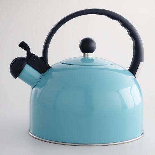 Aqua Enamel Tea Kettle