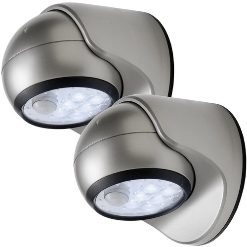 Light It! 6-Light Silver Motion Activated Outdoor Integrated LED Wireless Area Light (2-pack)