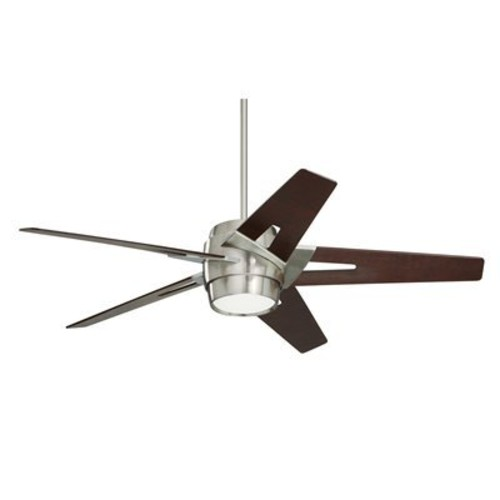 Emerson Ceiling Fans CF550DMBS Luxe Eco Modern Ceiling Fans With Light And Wall Control, 54-Inch Blades, Brushed Steel Finish [Brushed Steel, Dark Mahogany]