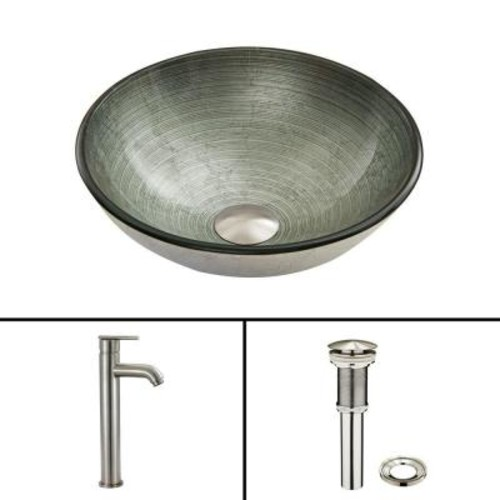 VIGO Glass Vessel Sink in Simply Silver and Seville Faucet Set in Brushed Nickel