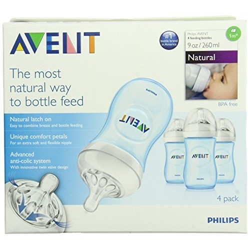 Philips Avent Natural Baby Bottles, Blue, 9 Ounce (4 Pack)