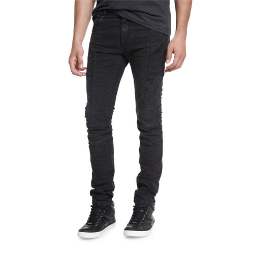 Skinny-Fit Biker Denim Jeans, Black