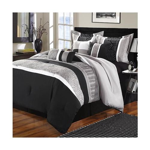 Euphoria Black & Gray King 8 Piece Comforter Bed In A Bag Set