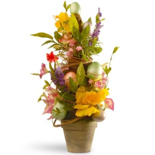 National Tree Co. Floral Easter Topiary w/ Tulips and Egg