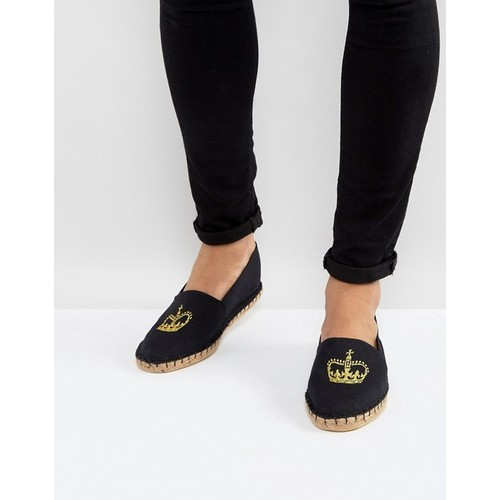 ASOS Canvas Espadrilles In Black With Crown Embroidery