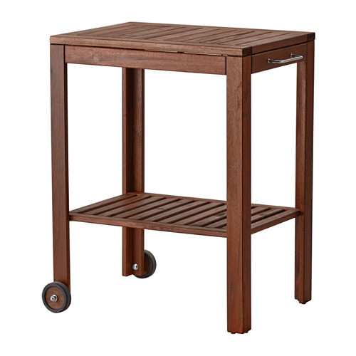 PPLAR / KLASEN Serving cart, outdoor, brown stained, stainless steel