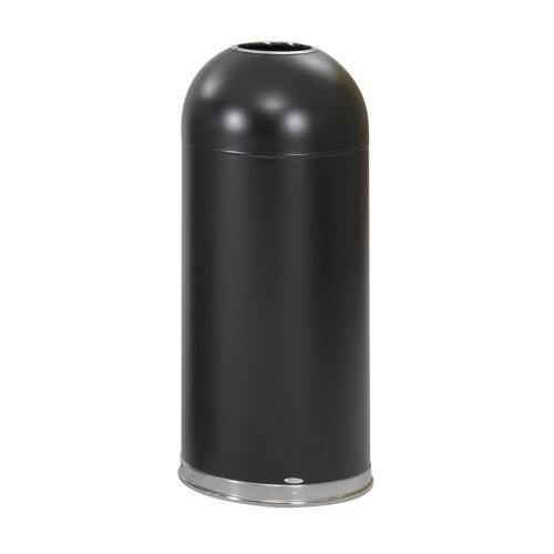 Safco Products 9639BL Open Top Dome Waste Receptacle, 15-Gallon, Black [Black, Open Top]