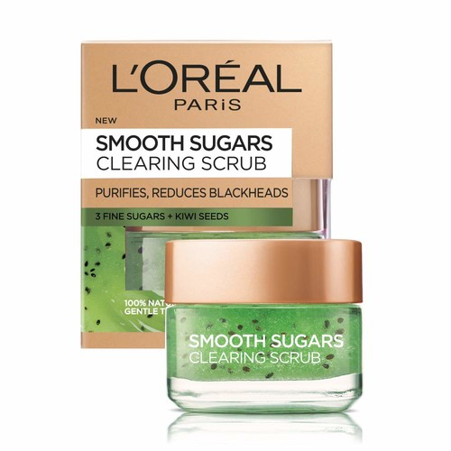 L'Oral Paris Skin Care Pure Sugar Face Scrub with real Kiwi seeds, To Unclog Pores, Pore Minimizer, 1.7 oz. [Purify & Unclog]