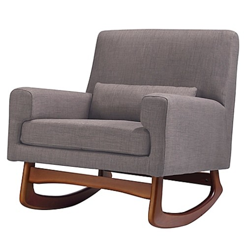 Nursery Works Sleepytime Rocker in Pebble Weave Fabric with Walnut Legs