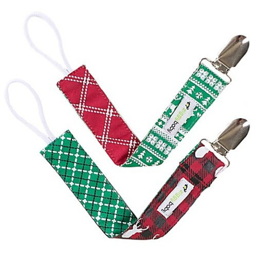 Ziggy Baby 2-Pack Holiday Lodge Pacifier Clips