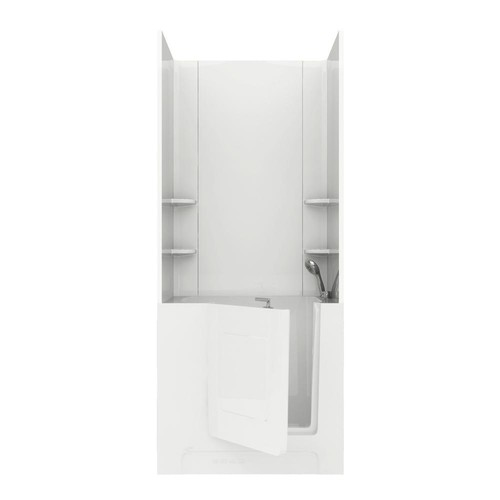 Universal Tubs Rampart 3.3 ft. Walk-in Whirlpool Bathtub with Flat Easy Up Adhesive Wall Surround in White