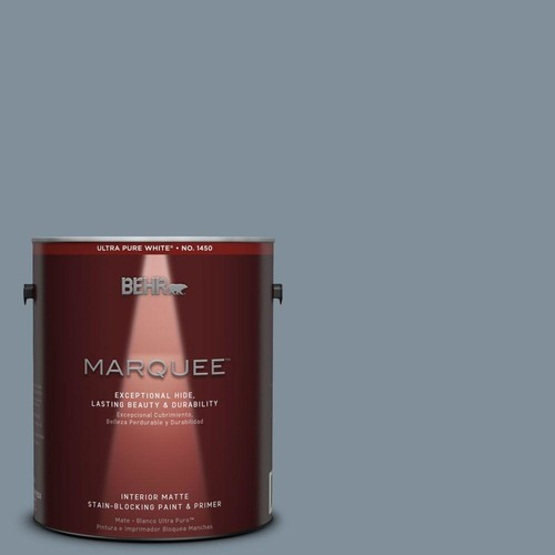 BEHR MARQUEE 1 gal. #MQ5-20 Cold Steel One-Coat Hide Matte Interior Paint