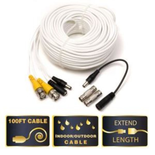 100 ft. Video and Power BNC Male Cable with 2 Female Connector