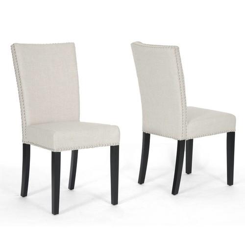 Baxton Studio Baxton Harrowgate Linen Modern Dining Chair Set of beige, 2