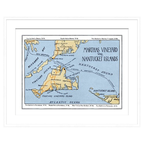 Marthas Vineyard Map in White Frame