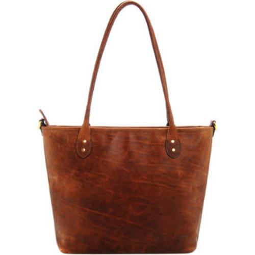 Leather Capri Camera Tote Bag (Antique Cognac)