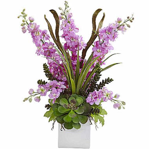Delphinium And Succulent Arrangement Floral Arrangement