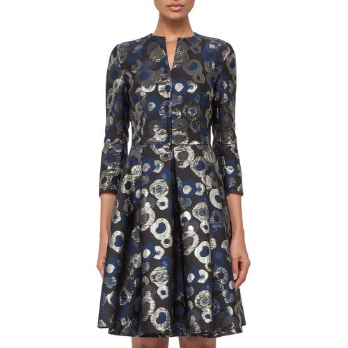 AKRIS 3/4-Sleeve Split-Neck Metallic Coat Dress, Blue Jay