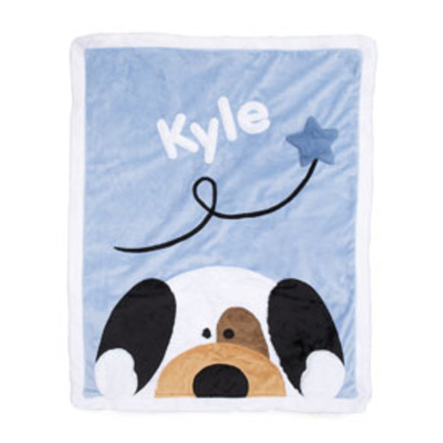 Personalized Peek-a-Boo Puppy Plush Blanket, Blue