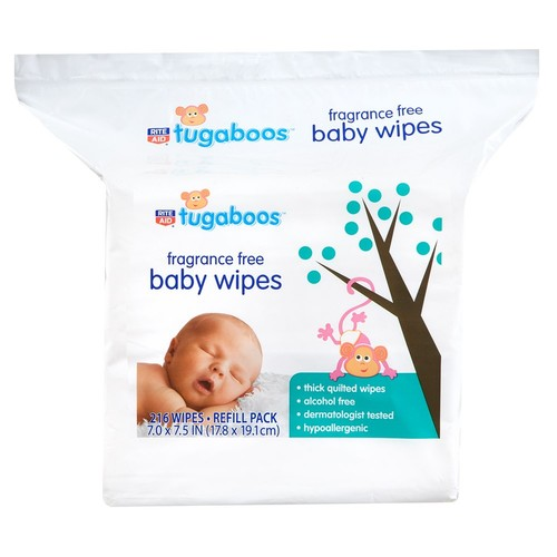 Rite Aid Tugaboos Baby Wipes, Fragrance Free, Refill Pack, 216 Count
