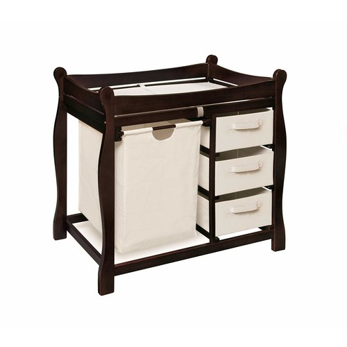 Badger Basket Sleigh Style Changing Table with Hamper/3 Baskets, Espresso [Espresso]