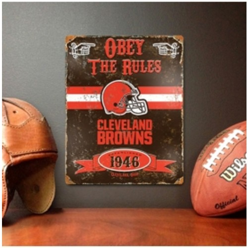 Party Animal Cleveland Browns Embossed Metal Sign