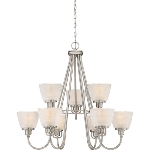 Quoizel Dublin Brushed Nickel-finish Steel 2-tier 9-light Chandelier