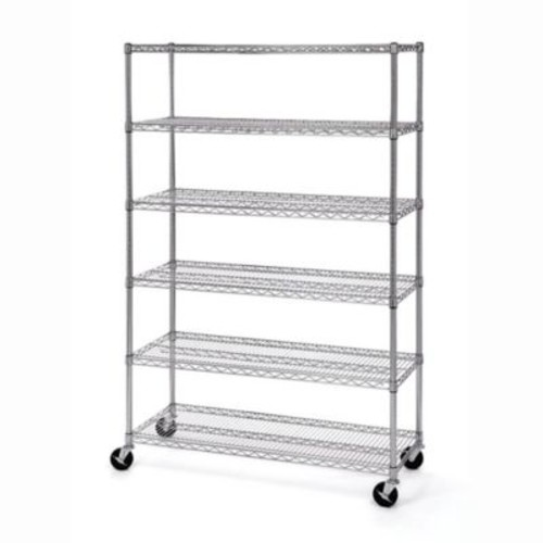 Seville Classics 6-Tier Steel Wire Shelving with Wheels
