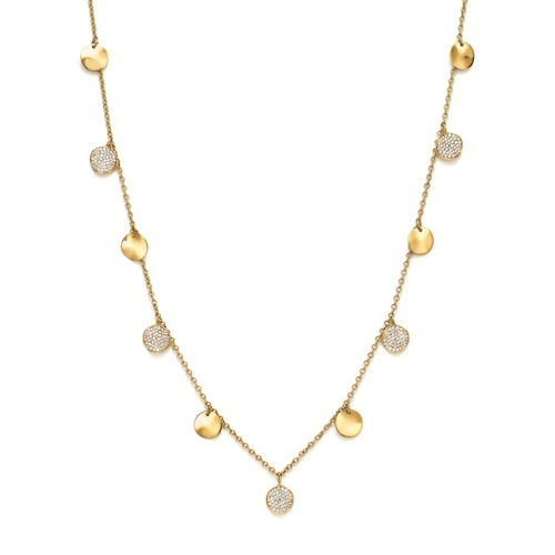 18K Yellow Gold Glamazon Stardust Paillette Necklace with Diamond Stations, 18