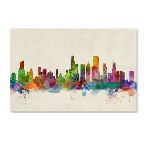 Michael Tompsett 'Chicago Illinois Skyline VI' Canvas Wall Art [option : 12x19 Wrapped Canvas Art]