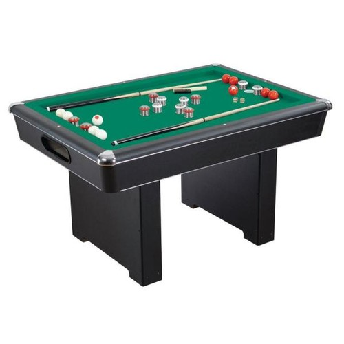 Hathaway Renegade 54 in. Slate Bumper Pool Table for Family Game Rooms with Green Felt, 48 in. Cues, Balls, Brush and Chalk