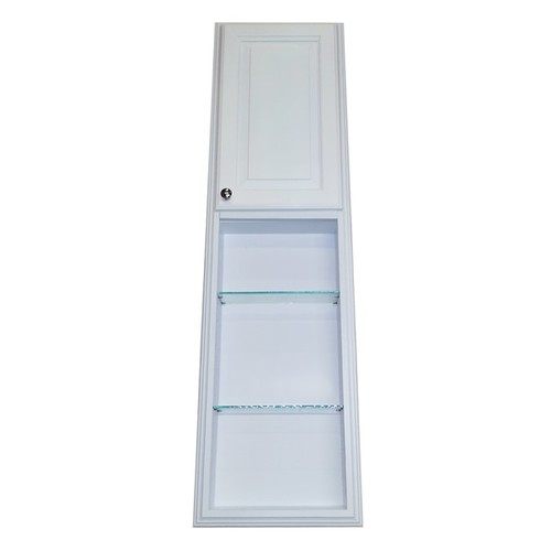 54-inch Recessed White Plantation Pantry Storage Cabinet with 30-inch Shelf