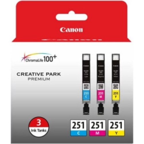 Canon 6514B009 (CLI-251) ChromaLife100+ Ink, Cyan/Magenta/Yellow