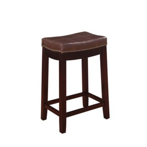 Linon Claridge Patches Vinyl Counter Stool, Brown