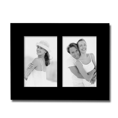 Adeco PF0420 Decorative Black Wood Divided Picture Photo Frame, Wall Hanging or Table Top Display, 2 Vertical Openings, 4x6 inches