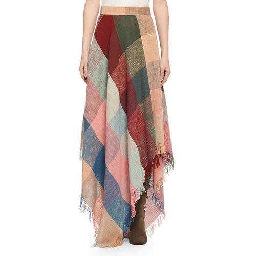CHLOE Colorblock Fringed Handkerchief Maxi Skirt, Multicolor