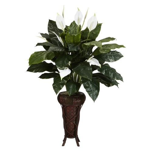 Nearly Natural 57 in. H Green Spathyfillium with Stand Silk Plant