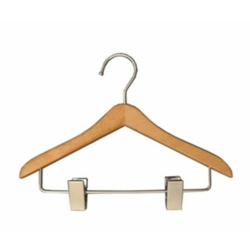 Wood Mini Hanger With Clips, Chrome Hook, 8