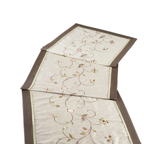 Madison Park Estella Green Embroidered Floral Bedscarf Dresser Topper/ Table Runner and Decorative Pillow Set