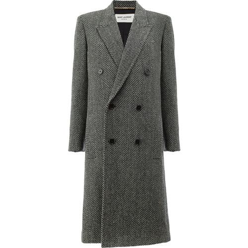 SAINT LAURENT Tweed Double Breasted Coat