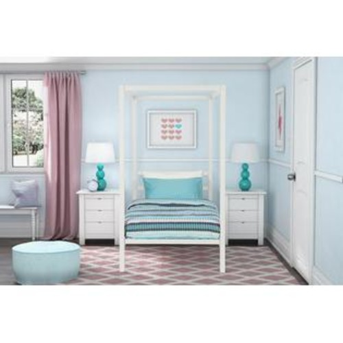 Dorel Modern Metal Canopy Twin Bed - White Metal