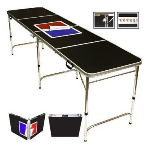 Red Cup Pong 8' Folding Beer Pong Table with Bottle Opener/Ball Rack and 6 Pong Balls - Sports Design