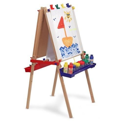 Melissa & Doug Deluxe Standing Art Easel - Dry-Erase Board, Chalkboard, Paper Roller [Standard Version]