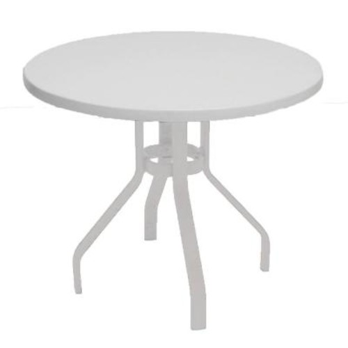 Marco Island 36 in. White Round Commercial Fiberglass Metal Outdoor Patio Dining Table